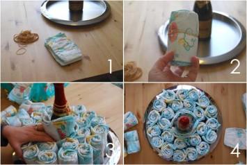 Схема: торт из памперсов